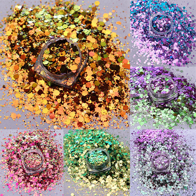 10g Chameleon Color Shift Chunky Mix Hexagon Nail Glitter Nails Art Decoration Tumblers DIY Crafts Festival Accessories