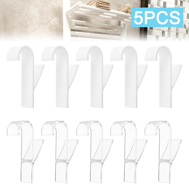 5pcs/set White Hanger For Heated Towel Radiator Rail Bath Hook Holder Transaparent Clothes Hanger Scarf Hanger