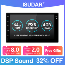 Isudar PX6 2 Din Auto Radio Android 10 For Nissan/Xtrail/Tiida/Hyundai/KIA Universal Car Multimedia Video Player GPS USB RAM 4GB