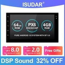 Isudar PX6 2 Din Radio samochodowe Android 10 dla Nissan/Xtrail/Tiida/Hyundai/KIA uniwersalny samochodowy multimedialny odtwarzacz wideo GPS USB RAM 4GB