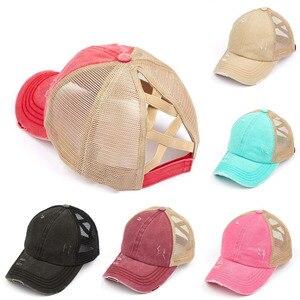 HanXi Women Ponytail Baseball Cap Criss Cross Hat 2020 New Arrival Hat Caps Outside Sport Hip Hop Snapback Washed Visor(China)