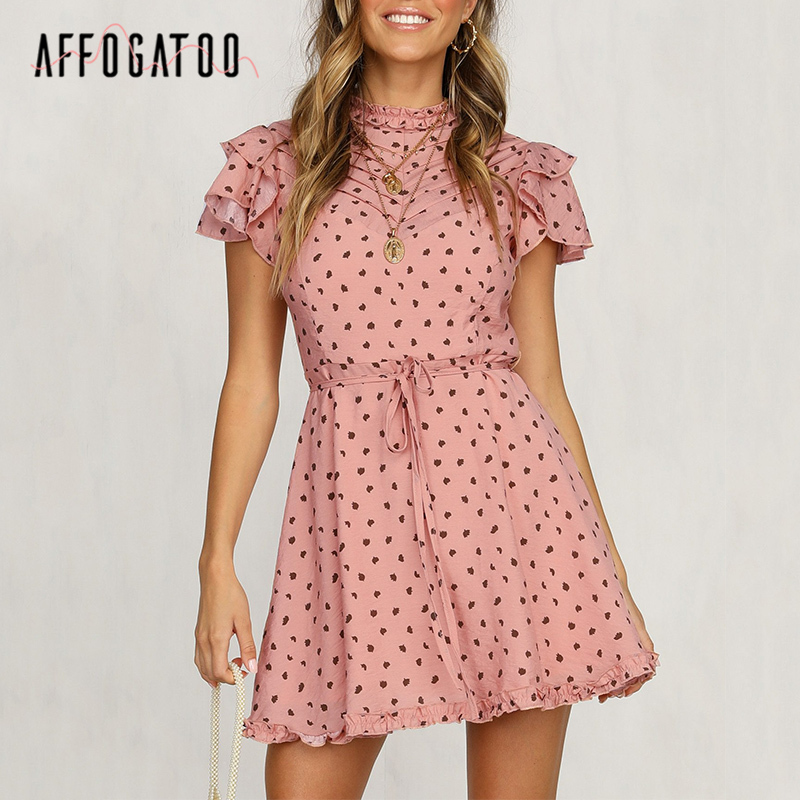 Affogatoo Elegant Ruffle Print Mini Summer Dress Women Casual Short Sleeve Lace Up Female A-line Dress Office Ladies Pink Dress