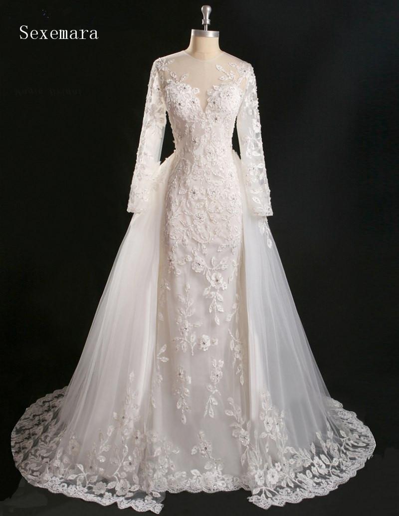Vestido De Noiva Princesa Real Vintage Lace Long Sleeve Mermaid Bridal Gown Detachable Skirt 2020