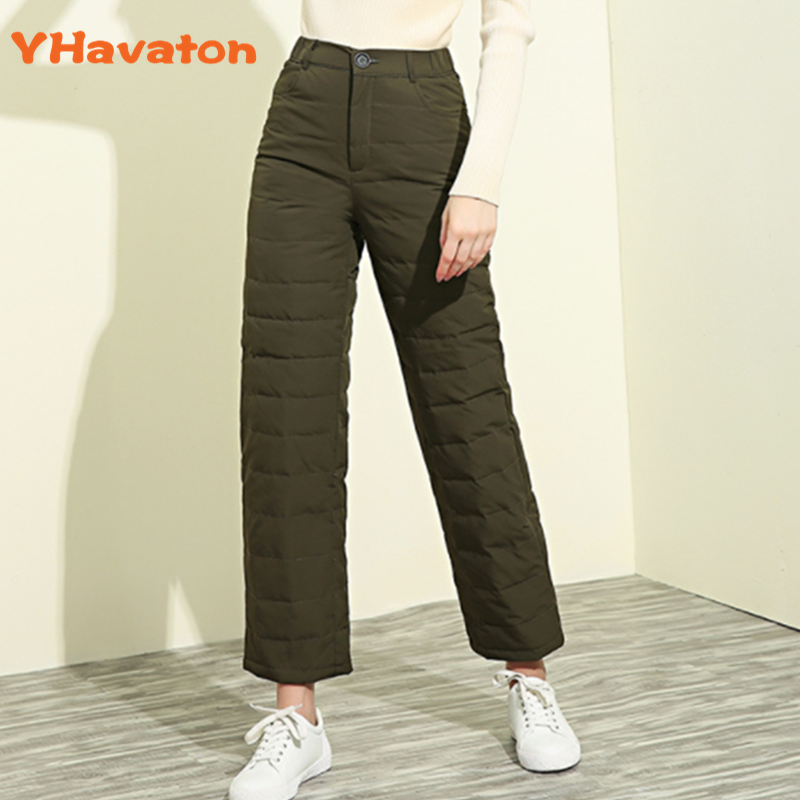 2019 Fashion Slim Winter Women High Waist Duck Down Pants Big Size Lady Warm Thicked Wide Leg Pants Female Trousers OutWea
