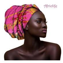 2019 Multi-color Hair Accessory Headband Bazin Head Wrap Tie Scarf High Quality African Scarves AF003