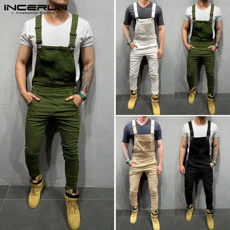 INCERUN Men Jumpsuit Solid Joggers 2020 Fitness Suspenders Pants Pockets Bib Rompers Casual Mens Overalls Streetwear Plus Size