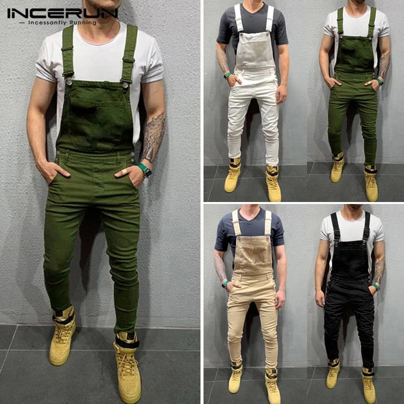 INCERUN Men Jumpsuit Solid Joggers 2020 Fitness Suspenders Pants Pockets Bib Rompers Casual Mens Overalls Streetwear Plus Size