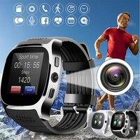 Bluetooth t8 relógio inteligente leitor de música facebook whatsapp sincronização sms câmera smartwatch suporte sim tf cartão reloj inteligente relogio