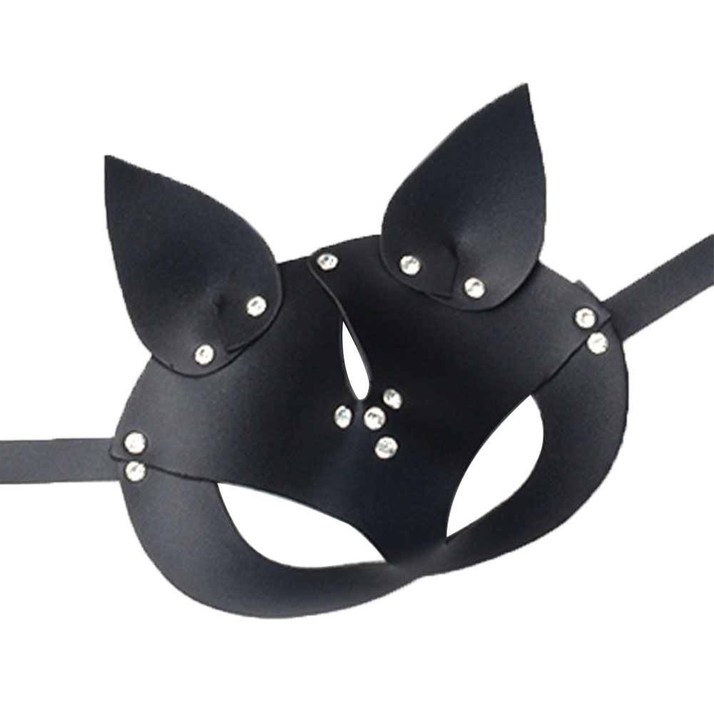 Dress Up Festival Halloween <font><b>Mask</b></font> Non Toxic Party Cosplay Handmade PU Leather Adults <font><b>Cat</b></font> Head Adjustable Costume Prop <font><b>Sexy</b></font> image