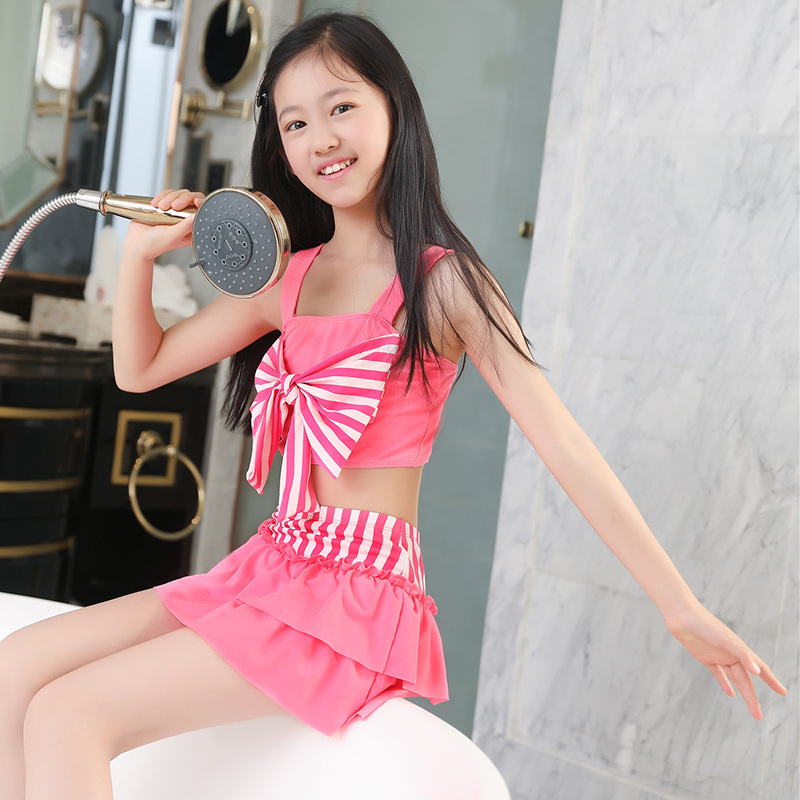 New Style Two-piece Swimsuits Korean-style 6-9-Year-Old Children Bathing Suit Qmilch Large Bow Girls Swimwear Swimwear