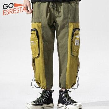 Goesresta Tide Brand Splice Cargo Pants Men Hip Hop Joggers Streetwear Trousers Casual Harem Loose Plus Size Track Pants For Men goesresta 2020 tide brand men down jacket 90