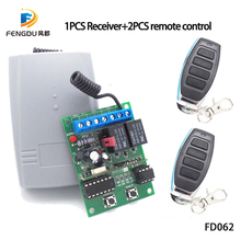 2 Channel 12V 24V DC Universal RF Receiver Rolling Code Transmitter Command Garage Gate Motor Receiver 433.92mhz Wireless+remote