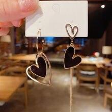 Korean Asymmetric Double Heart Tassel Earrings Fashion Heart-shaped Long Peach Heart Earrings Girls Exquisite Gift Accessories