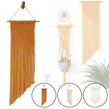 Nordic Bohemian Style Woven Wall Hanging Fringe Tapestry Oblique Triangle Braided Tassels Vintage Ornament Home Art Decoration(China)