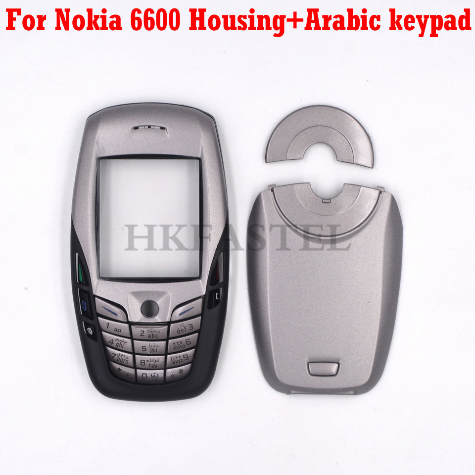 For Nokia 6600 Mobile Phone New Front Face Housing With Back Battery Door Cover + Arabic Keypad