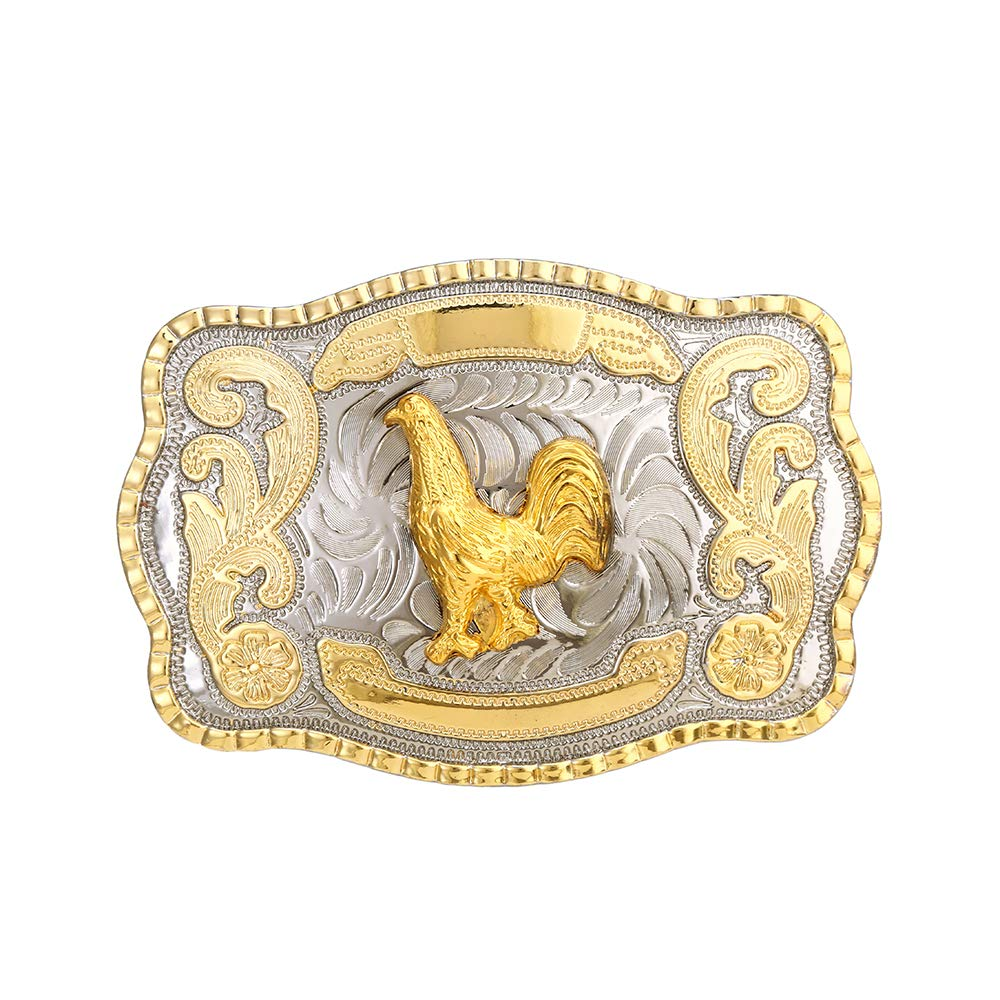 Bigergold Silver Rectangle Rooster  Buckle For Man Western Cowboy Buckle Without Belt Custom Alloy Width 4cm