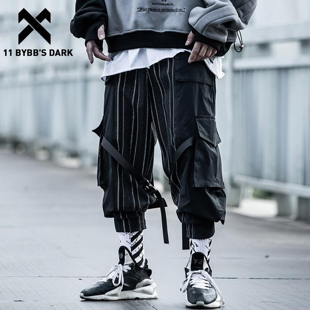 11 BYBB'S DARK Stripe Ribbon Multi Pockets Cargo Pants Men 2020 Casual  Hip Hop Streetwear Harajuku Joggers Trousers Men