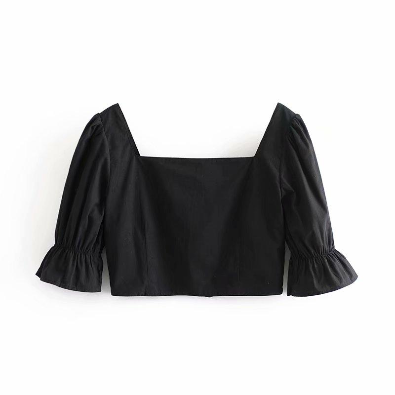 Черная блузка, сексуальный укороченный топ с рукавами-фонариками, Ретро стиль, винтажная блузка, женская элегантная блузка, корейская модна...