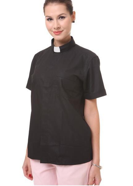 Church Christian Priest Black Shirt Summer Blouse