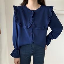 Spring Women Blue Chiffon Shirts Sailor Collar Ruffle Hem Long Sleeve Plus Size Casual Top Girls Sweet Button Front Crepe Shirt