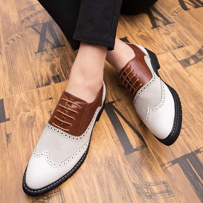 ใหม่มาถึง Retro Brogue รองเท้าหนังคลาสสิกธุรกิจอย่างเป็นทางการรองเท้าแต่งงานชี้รองเท้าหนังผู้ชาย Oxford รองเท้าขนาด 46
