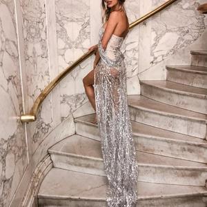 Image 4 - Misswim lungo Sexy trasparente delle donne del vestito 2019 di Estate paillettes vestiti da partito Delle Signore di Scintillio lucido aderente night dress Abiti XL