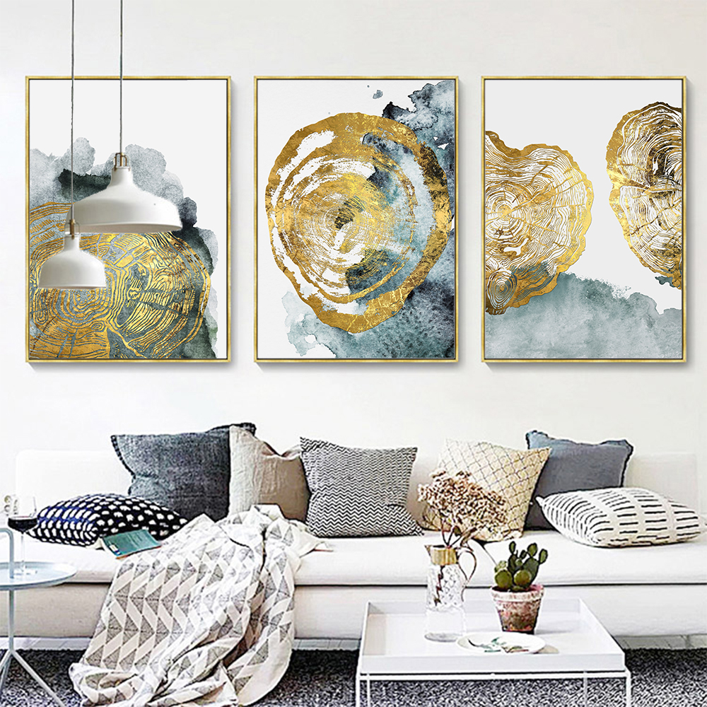 Abstract Grey Gold Watercolour Large Wall Print Canvas Premium Poster