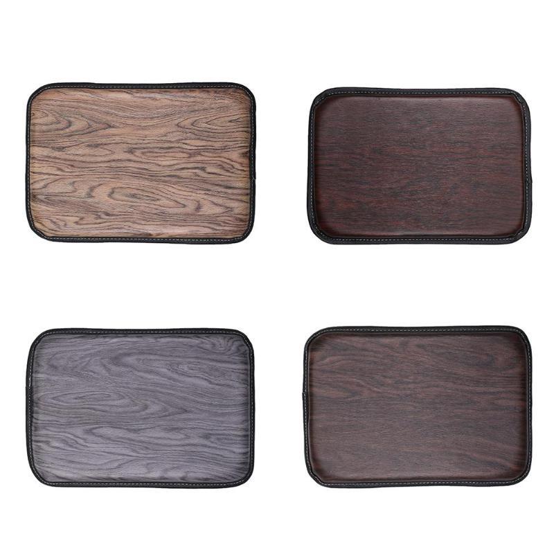 Almohadilla de apoyo de textura de madera antideslizante de la consola central del cojín de la caja del pasamanos del coche accesorios interiores del coche