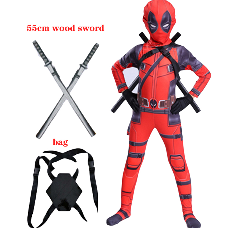 Kids Deadpool Costume Boys Cosplay Deadpool Superhero Costumes Mask Suit Jumpsuit Bodysuit Halloween Party Costume For Boy Girls