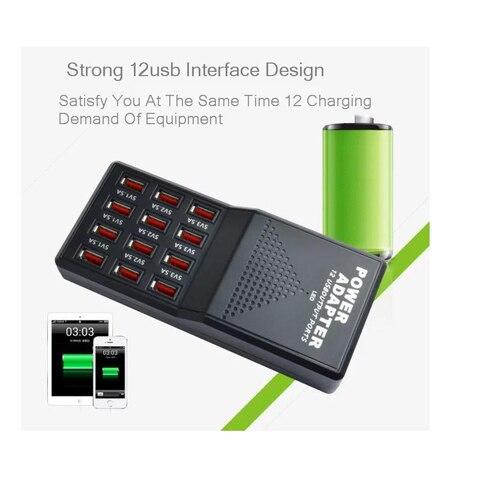Vogek US Plug Travel Charger Smart Charging Station 5V12A  Multi USB Desktop Charger 12 USB Ports Quick Charge Adapter Karachi