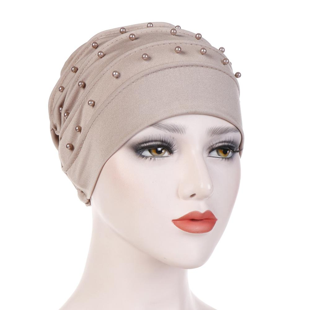 2020 New Turbans For Women Pearls Turban Femme Musulman Women's Head Scarf Turban Cap Winter Indian Hat Turbante Mujer