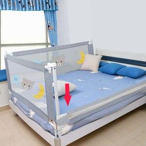 Image 3 - Kinderen Bed Barrière Hek Veiligheid Vangrail Security Opvouwbare Baby Thuis Kinderbox Op Bed Hekwerk Gate Wieg Verstelbare Kids Rails