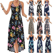 Summer New Style Printed Suspender Dress Women's Casual Bohemian Long Skirt Sexy Fashion Plus Size Dress