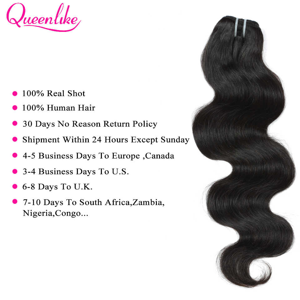 QueenLike Hair Products 3 4 Pieces 100% Human Hair Bundles Remy Hair Weave Natural Color Malaysian Body Wave Bundles
