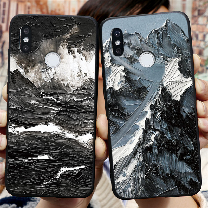 3D Emboss Case For Xiaomi Redmi 3S 4A 5 Plus 6A 7A 8A S2 K20 K30 Note 3 4X 5A 5 6 7 8 Pro 8T Mountain Flower Silicone Back Cover