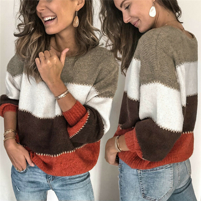 Casual Striped O Neck Women Sweater Autumn Winter Long Sleeve Jumper 2019 Knitted Loose Fashion Pullover Femme