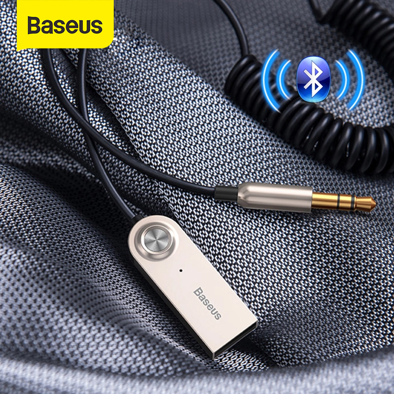 Baseus USB Bluetooth Adapter Aux Bluetooth V5.0 Receiver Audio Transmitter Bluetooth Dongle For Car 3.5mm Jack Car Adapter Cable