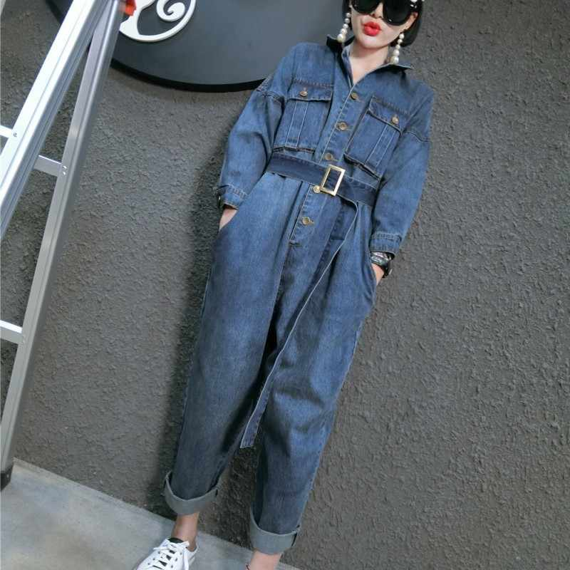 Gaya Korea Longgar Kasual Jumpsuits Wanita Sabuk Ikat Pinggang Jean Denim Overall Wanita Playsuits Rompers Ukuran Besar M-XXL Biru