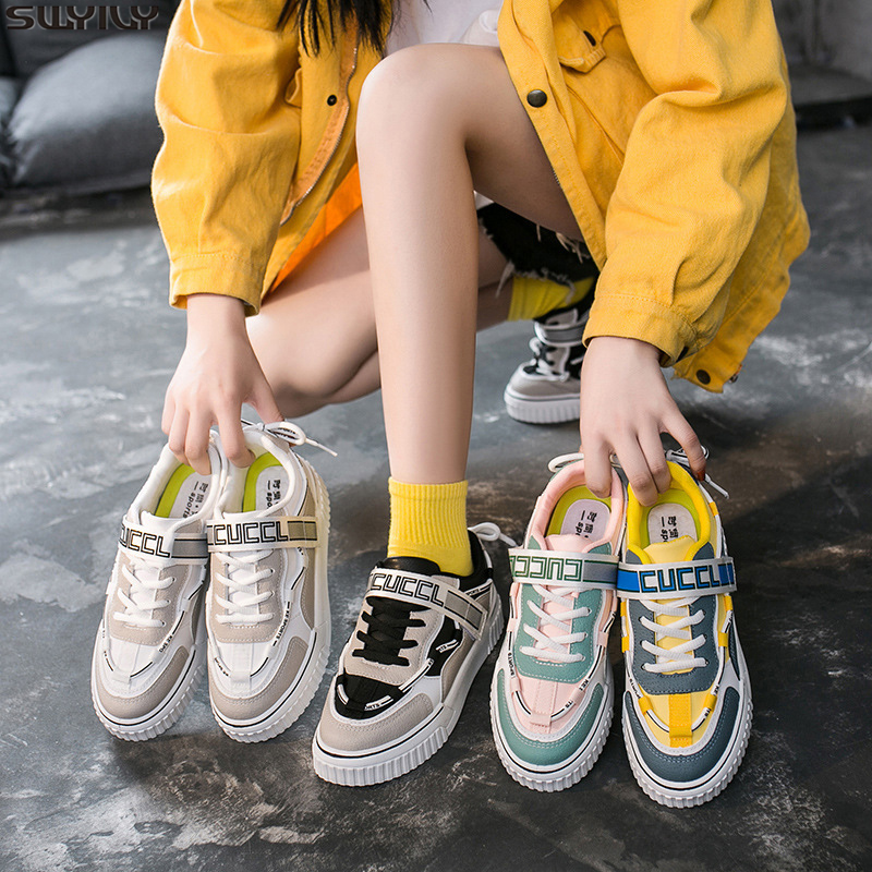 SWYIVY PU Board Chunky Sneakers Women New Hot Sale 2020 Spring White Shoes Women Mixed Colors Flat Casual Shoes Woman Sneakers