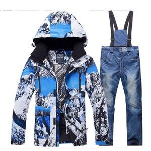 Image 5 - 2020 חדש חורף גברים תרמית חליפת סקי זכר Windproof עמיד למים סקי וסנובורד סטי מעיל מכנסיים חליפת שלג תלבושות