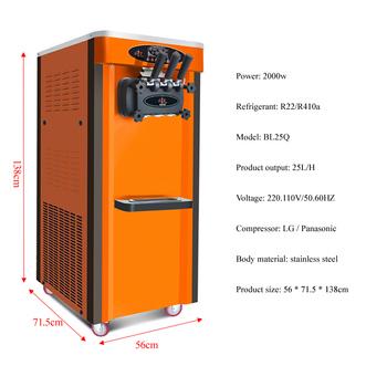 Maszyna do lodów handlowa maszyna do lodów miękkich 3 smak tanie i dobre opinie Linboss 1501 ml BL25Q Chłodzenie powietrzem 6 5L *2 2000w 220V 110V 50 60 Hz 56*71 5*138cm 110kg R22 R410A