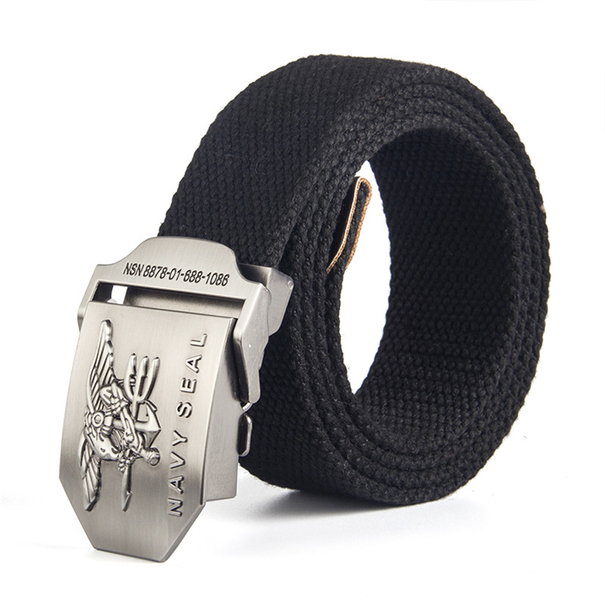 12 Type Canvas Mens Belt Navy Seal Metal Smooth Buckle Striped Belt Male Eagle Alloy Army Belt Long Adjustable Black Waist Belt