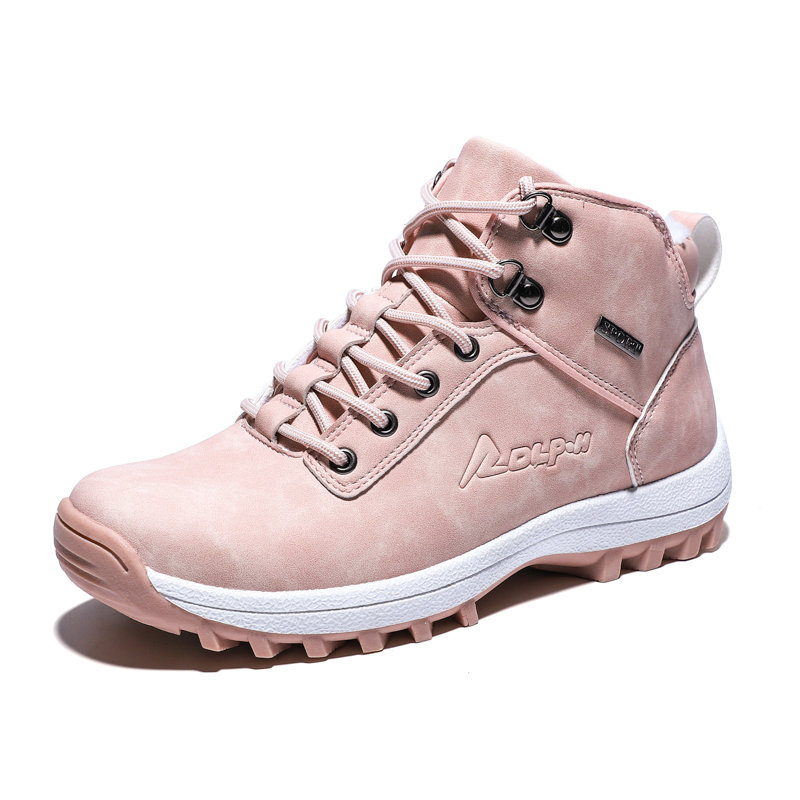 Winter Waterproof Hiking Shoes Women Genuine Leather Nonslip Outdoor Climbing Trekking Shoes Pink Sneakers Tactical Boots