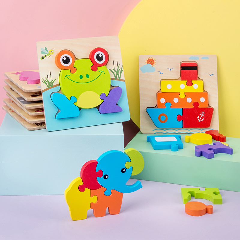 New Big Wooden Puzzle Toys For Children Wood 3d Cartoon Traffic Animal Puzzles Intelligence Kids Early Educational Gift Toys