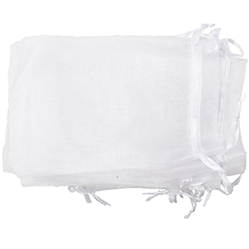 Set Of 25 Large Organza Bags White - Pockets - Drawstring Cord - For Wedding, Jewelry, Gifts, 11cm X 16cm