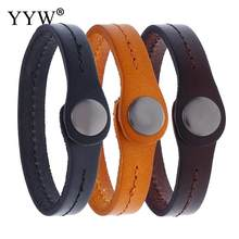 Faux Leather Bracelet Unisex Black Bangle Stumpunk Men Women Wristband Brown Simple Design Chakra Couple Jewelry Pulseiras(China)
