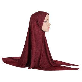 Однотонный женский цельный хиджаб Amira, завязанный треугольник спереди, готов носить мусульманский Рамадан, головной платок, молитвенная Ке...