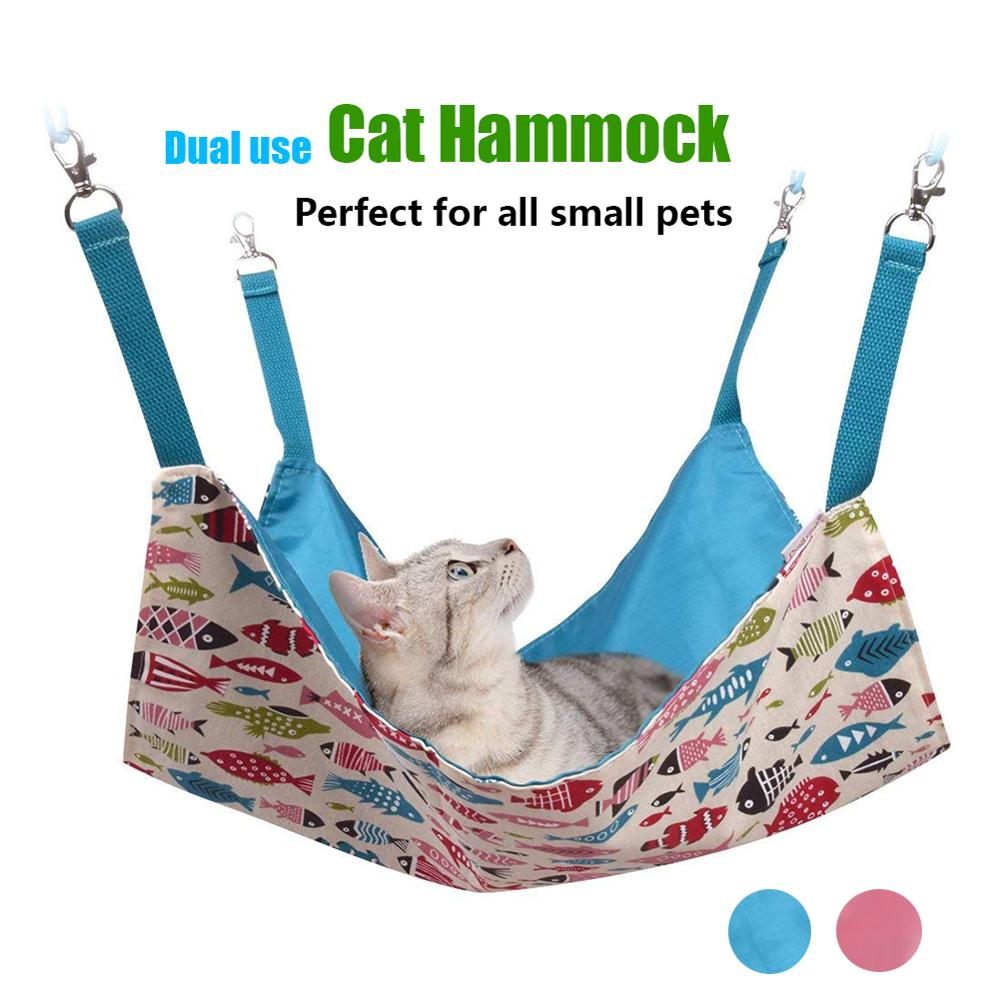 Cat Hammocks Bed Use with Cage or Chair, Reversible 2 Sides Small Pet Hammock for Kitten, Ferret,Bunny, Rabbit, Rat