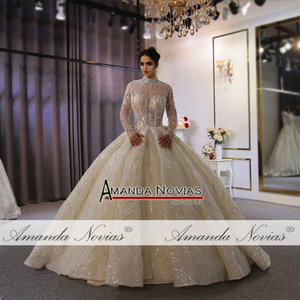 Image 5 - Suknia ślubna 2020 wysoki dekolt z całe z koralików zamówienie na zamówienie dubaj wesela