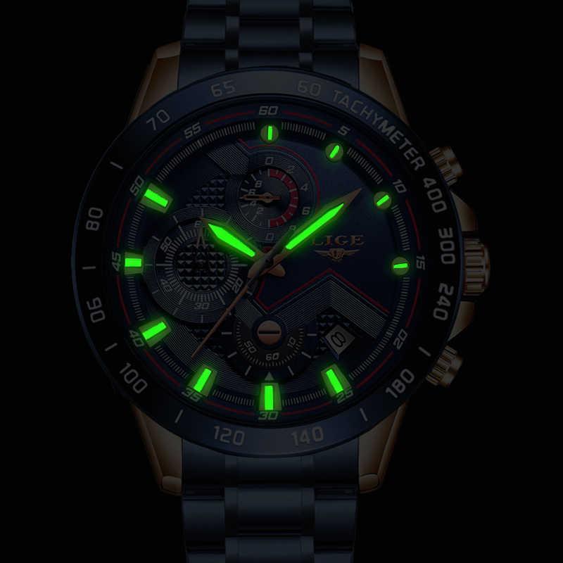 2020 Mens 시계 방수 스테인레스 스틸 LIGE 탑 브랜드 럭셔리 패션 스포츠 시계 크로노 그래프 쿼츠 시계 블랙 시계 남자